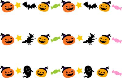 ハロウィンのライン飾り罫線イラスト2