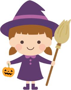 魔女のハロウィンコスプレをした女の子のイラスト