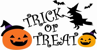 トリック・オア・トリートとかぼちゃのイラスト文字