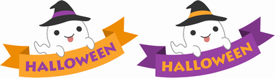 ハロウィンのリボンのイラスト文字