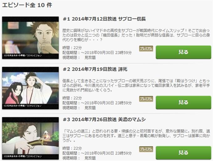 信長協奏曲 アニメ動画無料視聴